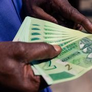 A man displays his new two-dollar notes of the Zimbabwe dollar.