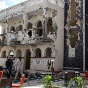 A hotel in the Somalian city of Kismayo on July 13, 2019, a day after at least 26 people, including several foreigners, were killed and 56 people were injured in a suicide bomb and gun attack claimed by al Shabaab militants.