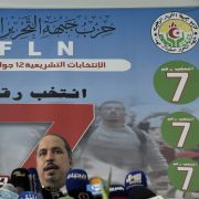 The Secretary-General of Algeria's ruling National Liberation Front (FLN) holds a press conference on the party's electoral victory in the capital of Algiers on June 16, 2021.