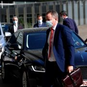 The United Kingdom's chief Brexit negotiator, David Frost (center) arrives at the EU headquarters in Brussels, Belgium, on Sept. 17, 2020.