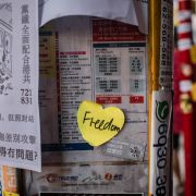 A sticker at a bus stop during a pro-democracy march in Hong Kong on Sept. 15, 2019.