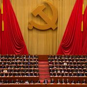 Delegates attend the closing of China's 19th Party Congress in Beijing on Oct. 24.