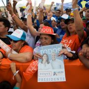 Supporters of Colombian presidential candidate Ivan Duque attend his final campaign rally in Bogota on May 20, ahead of the May 27 presidential election.