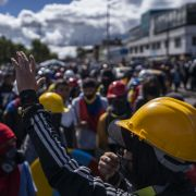 Protesters gather in the streets of Bogota, Colombia, on July 20, 2021.