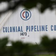 Fuel holding tanks are seen at Colonial Pipeline's Linden Junction Tank Farm on May 10, 2021, in Woodbridge, New Jersey.