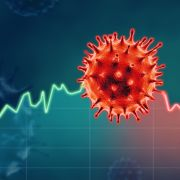 A colorful and conceptual 3D illustration of the novel coronavirus.