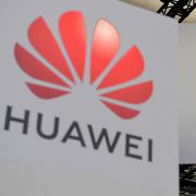 The Huawei logo is displayed at the annual VivaTech conference in Paris on May 16, 2019.