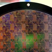 A Samsung silicon wafer is displayed on March 23, 2011, in San Jose, California.