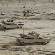 Egyptian tanks take part in joint military exercises at a base near the Mediterranean coast, located northwest of the capital of Cairo, on Nov. 15, 2018.