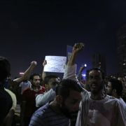 Egyptian protesters call for the removal of President Abdel Fattah al-Sisi in downtown Cairo on Sept. 20, 2019.