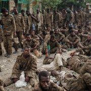 Captive Ethiopian soldiers on July 2, 2021, in Mekele, the capital of Ethiopia's Tigray region.