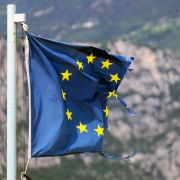 A damaged EU flag is seen in Brenzone, Italy, on Aug. 14, 2019.