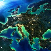 A satellite image shows Europe at night.
