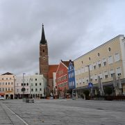 A photo shows an empty plaza with closed stores in the German city of Eggenfelden on Oct. 27, 2020, after a local lockdown was imposed to contain the spread of COVID-19.