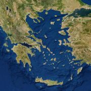 A 3D rendering of a satellite image taken over the Aegean Sea.
