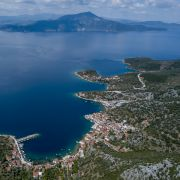 An aerial view of Agia Kyriaki village on June 1, 2020, in Pelion, Greece.