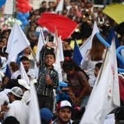 Supporters of Guatemalan presidential candidate Alejandro Giammattei rally in Guatemala City on July 21, 2019.