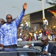 Guinean president Alpha Conde rallies supporters in Conakry after a series of violent protests opposing his efforts to extend his term in office.