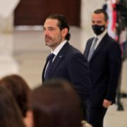 Former Lebanese Prime Minister Saad Hariri arrives at the office of President Michel Aoun, after the latter appointed him to form a government on Oct. 22, 2020, in Beirut, Lebanon.