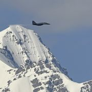 An Indian fighter jet flies over Ladakh, the disputed Himalayan region near the Chinese border, on June 26, 2020.