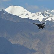 An Indian fighter jet flies over Leh, the joint capital of the union territory of Ladakh, on June 26, 2020.