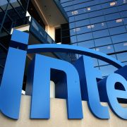 The Intel logo is displayed outside of the company's headquarters in Santa Clara, California.