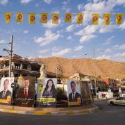 Electoral posters on Oct. 3, 2021, in the northern Iraqi city of Dohuk in the autonomous Kurdish region ahead of the upcoming parliamentary elections.