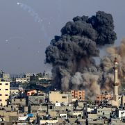 Smoke billows from Israeli airstrikes in Hamas-controlled Gaza City on May 11, 2021.