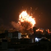 An Israeli airstrike hits the Hamas-run Al-Aqsa TV station in the Gaza Strip on Nov. 12, 2018.