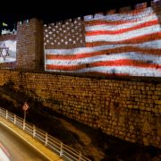 The Israeli and U.S. flags are projected on the walls of Jerusalem's Old City in celebration of the two countries' close ties on Feb. 11, 2020.