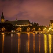 Konigsberg Cathedral and the Pregolya River are seen in this nighttime shot in Kaliningrad.