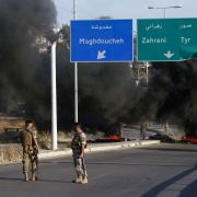 Soldiers in the southern Lebanese coastal town of Ghazieh on June 12, 2020, amid demonstrations that erupted after the sharp drop of the Lebanese pound on the black market.