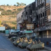 A photo shows Lebanese soldiers stationed in armored vehicles amid clashes in Khalde on Aug 1, 2021.