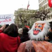 Marchers take to the streets of Beirut on Dec. 30, 2019, to express their displeasure with Lebanon's poor economy and government paralysis.