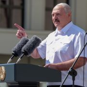 Belarussian President Aleksandr Lukashenko delivers a speech Aug. 16, 2020, during a rally held to support him in central Minsk, Belarus.