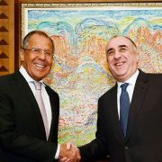Russian Foreign Minister Sergei Lavrov (L) met with his Azerbaijani counterpart, Elmar Mammadyarov, in Baku on July 12 to discuss the Nagorno-Karabakh dispute. So far, the latest negotiations to resolve the conflict have involved more talk than action.