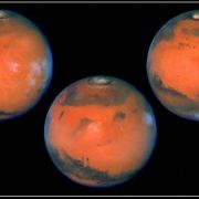 A NASA photo shows a full rotation of the planet Mars as seen through the recently upgraded Hubble Telescope using the wide-field planetary camera. The photos were taken six hours apart, which allows for almost full planetary coverage.