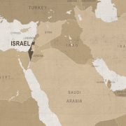 A vintage map of the Middle East.