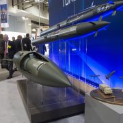 Missiles manufactured by Lockheed Martin are displayed during the Association of the United States Army's annual meeting and exposition in Washington, D.C., on Oct. 13, 2014.