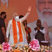Indian Prime Minister Narendra Modi (C) at a rally during West Bengal state's assembly election April 10, 2021, at Kawakhali on the outskirts of Siliguri.