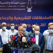 Morocco's Islamist Justice and Development Party (PJD) hold a post-election press conference in Rabat on Sept. 9, 2021.