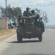 A military convoy from a multinational intervention force on Aug. 5, 2021, in Pemba, Mozambique.