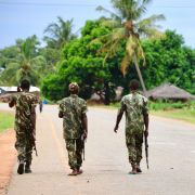 Soldiers patrol the streets in Mocimboa da Praia, Mozambique, on March 7, 2018.
