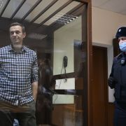 Russian opposition leader Alexei Navalny during a court hearing Feb. 20, 2021, in Moscow.