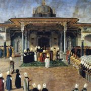Selim III, the sultan of the Ottoman Empire in 1789-1807, holds court in front of the Gate of Felicity at Topkapi Palace in Istanbul.