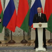 Russian President Vladimir Putin (right) and Belarusian President Alexander Lukashenko hold a joint press conference in Moscow on Sept. 9, 2021.