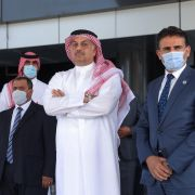 Qatar's defense minister (center) waits for the arrival of his Turkish counterpart to meet with the prime minister of Libya's U.N.-recognised Government of National Accord (GNA) in Tripoli on Aug. 17, 2020.
