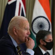 U.S. President Joe Biden (L) and U.S. Secretary of State Antony Blinken in a virtual meeting with other leaders of the QUAD on March 12, 2021, at the White House.