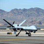 An MQ-9 Reaper remotely piloted aircraft taxis during a training mission on Nov. 17, 2015, in Indian Springs, Nevada.