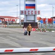 The Goptivka checkpoint, near Kharkiv on the Ukrainian-Russian border, on March 16, 2020.